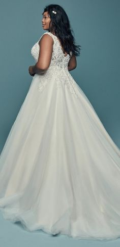 This wedding dress has a beaded Swarovski crystal bodice with lace motifs and a tulle princess ball gown skirt. Maggie Sottero Wedding Dresses, Bridal Wedding Dresses, Designer Wedding Dresses, Bridal Style, Plus Size Brides, Plus Size Wedding, Wedding Gown Gallery, Curvy Bride, Princess Ball Gowns