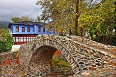 Stone Bridge at Moustheni village near Kavala town Macedonia Old Greek, Stone Masonry, Arch Bridge, Old Stone, Macedonia, Garden Bridge, Natural, Beautiful Places, Scenery