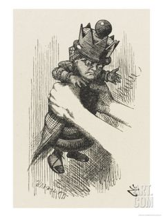 Alice Shakes the Red Queen Giclee Print by John Tenniel at Art.com