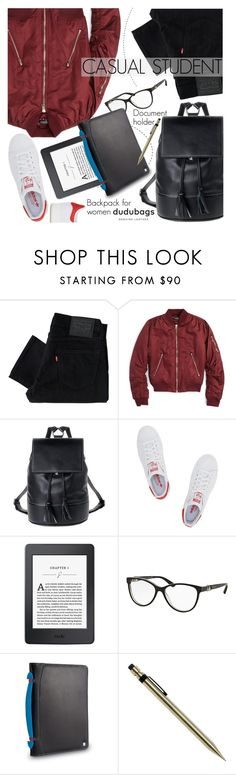 """""""Casual Student"""" by pokadoll ❤ liked on Polyvore featuring Levi's, Topshop, Bulgari, adidas Originals and dudubags"""