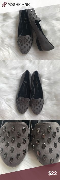 NWOT Rock & Republic Embellished Smoking Flats NWOT Rock & Republic Grey Skull Flat Loafers. Size 8.5. Bought these because I thought they were so adorable but never ended up wearing them. Perfect condition. Skulls all in tact. Does not come in original box. Firm Price.  Trades/Holds Modeling Ships same day if PO is open Firm Price Rock & Republic Shoes Flats & Loafers