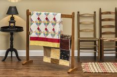 Shaker Style quilt stands offered in Red, Blue, Green or Yellow Poplar, Natural Maple, Light and Dark Cherry, and Light and Dark Oak.