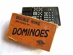 Vintage Wooden Hal-San Dominoes Double Nine Double Size Set, Complete, Orig. Box. $9.99