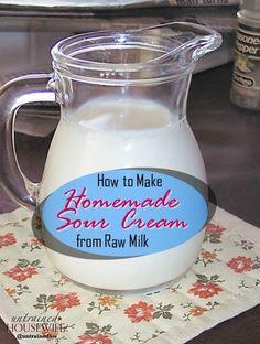 How to Make Homemade Sour Cream Make Sour Cream, Homemade Sour Cream, Ice Cream, Goat Milk Recipes, Dairy Recipes, Kefir Yogurt, Nourishing Traditions, Buttermilk Recipes, Raw Milk