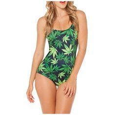 Green Maple Leaf Print One Piece Swimsuit ($8.98) ❤ liked on Polyvore featuring swimwear, one-piece swimsuits, 1 piece swimsuit, green swimwear, green bathing suit, green one piece bathing suit and green swimsuit