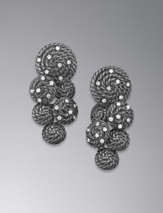 Cable Coil Cluster Earrings, Diamonds... someday i will buy myself these i love them so much