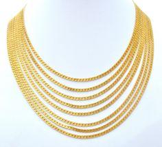 Monet Multi Strand Gold Tone Bib Vintage Necklace