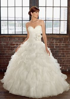 Romantic ball gown for ! Features dipped sweetheart neckline and corset back. A three-dimensional flower accents the waist while dramatic ruched organza skirt provides rich volume. Free made-to-measurement service for any size. Available colors seen as in Color Options.