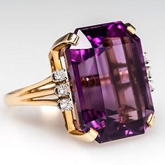 cocktail rings 14 k gold with emeralds   Vintage Cocktail Ring w/ Emerald Cut Amethyst in 14K Gold - EraGem