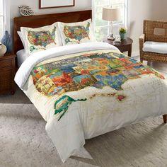 Laural HomeHand Lettered US Map Blueprint Duvet Cover In Blue - Us map blueprint