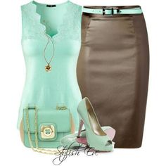 Turquoise v-neck top & fitted skirt.