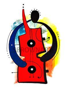The Guitar Man Print, African American Art, Jazz, Art by SBrownART