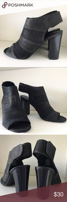 Franco Sarto Perforated Slingback Sandals These perforate bootie/sandals feature a Velcro strap block heel and open toe. Worn a few times, in great condition. Size 10. Franco Sarto Shoes Heels