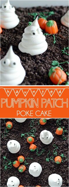 Haunted Pumpkin Patch Poke Cake: Spooky and cute Halloween cake made with Oreo crumbs, Cool Whip ghosts, and candy corn pumpkins! ~ Something Swanky Cute Halloween Cakes, Halloween Desserts, Halloween Treats, Fun Desserts, Dessert Recipes, Halloween Party, Halloween Chocolate Cake, Holloween Cake, Halloween Season