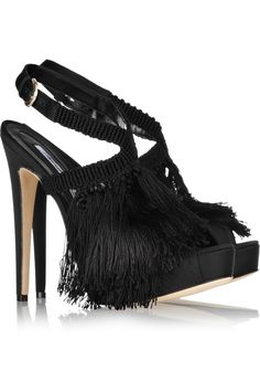 "5.5"" Fringed Flapper shoes! Brian Atwood Africa satin and fringed crochet sandals."