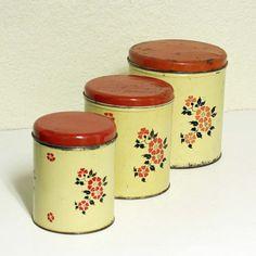 Vintage Canisters Set Tins Decoware Cream Color Red Lids Flowers Flour Coffee Tea Sugar Round Metal