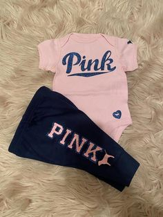 Coming Home Outfit Baby Girl PINK Inspired Jogger Outfit Blue Joggers and  Gold Glitter  PINK Inspired Outfit