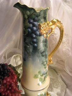 """MAGNIFICENT LUSCIOUS GRAPES"" Absolutely Gorgeous Antique LARGE Jean Pouyat Limoges France Grapes Hand Painted Tankard Dragon Handle Spectacular Heirloom Treasure Circa 1900"