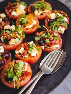 Pretty to look at and refreshing to eat! A tomato salad with a difference. Tomato Salad, Caprese Salad, Char Grill, Grilled Peppers, Vinaigrette, Finger Foods, Allrecipes, Stew, Salads