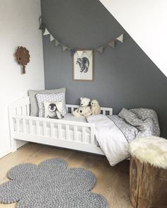 Home Attic Baby Room Bedroom Children's room Bunk bed Bed frame Furniture Interior design Baby Bedroom, Kids Bedroom, Bedroom Decor, Room Baby, Kids Rooms, Dispositions Chambre, Small Attic Room, Attic Bedrooms, Attic Design