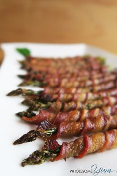 This easy bacon wrapped asparagus recipe is made in the oven with some tricks for extra crispy bacon. Low carb, paleo, gluten-free, keto, and whole Paleo Recipes, Low Carb Recipes, Cooking Recipes, Turkey Bacon Recipes, Pescatarian Recipes, Fish Recipes, Recipies, Low Carb Side Dishes, Side Dish Recipes