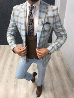Product: Slim-Fit Plaid Suit Color Code: Blue – Coffee Size: Suit Material: polyester, viscose Machine Washable: No Fitting: Slim-fit Package Include: Jacket, Vest, Pants Only Gifts: Shirt, Chain and Neck Tie Blazer Outfits Men, Mens Fashion Blazer, Stylish Mens Outfits, Mens Casual Suits, Top Fashion, Indian Men Fashion, Suit Fashion, Slim Fit Tuxedo, Slim Fit Suits