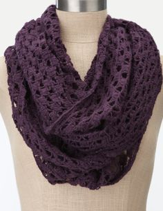 charlotte russe crochet infinity scarf (colors: eggplant and dark teal): $9.50