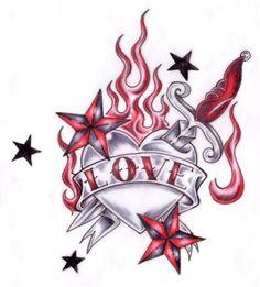 Image detail for -Love Hate Skull And Broken Heart Tattoo Tshirt 235883311216115303 Tribal Rose Tattoos, Skull Tattoos, Body Art Tattoos, Girl Tattoos, Tattoos For Guys, Heart Tattoo Designs, Tattoo Design Drawings, Art Drawings Sketches, Tattoo Sketches