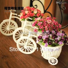Wholesale-Pink Blue Purple Rattan Flower Tricycle Bike Basket for Flower Vase Bike Storage Decor Wedding Crafts from Ppkk,$13.47 | DHgate.com
