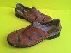 Brown Solid Leather Anne Klein slip on kkpokey sandals size 5.5 M  #AnneKlein #LoafersMoccasins #Casual