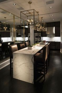 Contemporary Kitchen with Pendant Light, Imperial Danby, Inset cabinets, Undermount Sink, Breakfast bar, Kitchen island