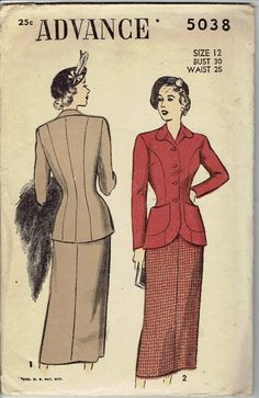 1940s Women's Suit Pattern with Fitted Princess by MiAbDryGoods