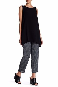 3e933f359d Eileen Fisher Midnight Chainette Printed Silk Cotton Drawstring Ankle Pants  S