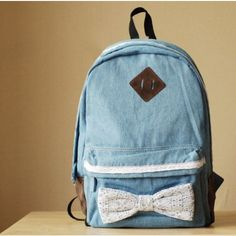 $39.99  Latest Sweet Lace bowknot Demin Backpack   Colour:Dark Blue/Light Blue