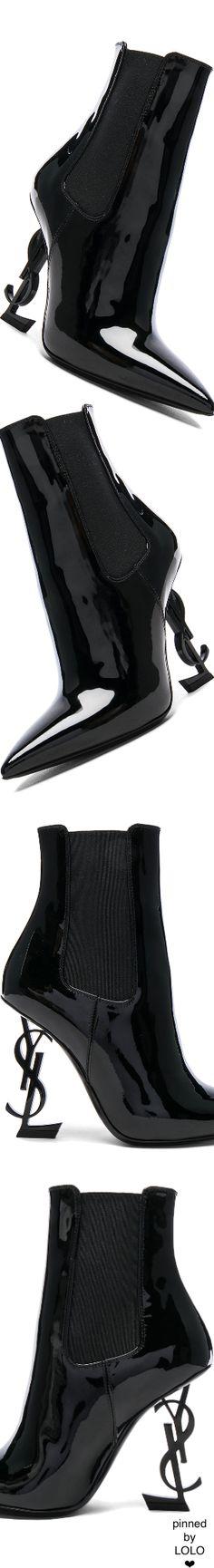 SAINT LAURENT Patent Opium Monogram Heeled Boots