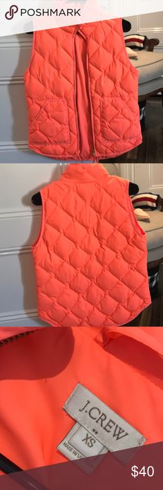Bright orange vest - J crew So fun! Bright orange (neon) j crew puffy vest J. Crew Jackets & Coats Vests