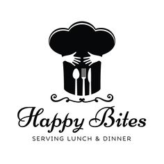 Premade Logo & Blog Header - Hugging Chef Hat & Utensils Premade Logo Design - Customized with Your Business Name!