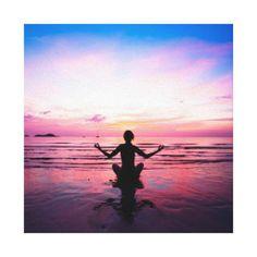yogi on pink, yoga chakra, heart chakras,healers stretched canvas print