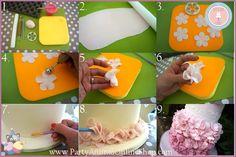 Petal Ruffle Tutorial | PartyAnimalOnline Ruffle Cake Tutorial, Fondant Tutorial, Flower Tutorial, Pretty Wedding Cakes, Wedding Cake Designs, Fondant Ruffles, Fondant Flowers, Scottish Wedding Cakes, Petal Cake