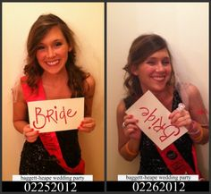 Okay, this idea is hilarious! Take before-and-after mugshots the night of the bachelorette party. Each gal can hold a sign describing her role in the wedding. Make photo albums and give one to each of your girls :)
