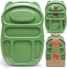 This is a fantastic lunchbox I got for my kids.  It is called a Goodbyn. It has several compartments inside which means no more plastic baggies for lunch items!  Also eliminates the need for separate food containers.  It comes with lots of fun stickers so your child can be creative (even stickers to alert people of an allergy.)  This product is BPA free and good for the environment.  It usually costs between $25-$30.