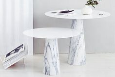 Studio Macura marble and steel tables.