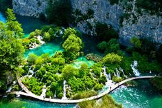 Walkways in National Park Plitvice Lakes - Croatia (small water flow in little falls)