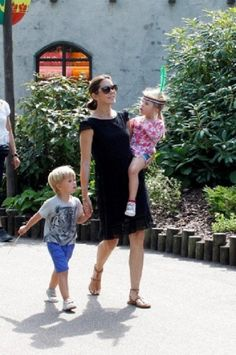Denmark's HRH Crown Princess Mary with her twin children Princess Josephine and Prince Vincent spend the day in Legoland, the Danish amusement park, 25.07.2014