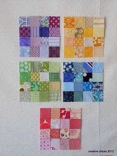 love this idea of making blocks with scraps of one colour...maybe with white or cream sashing.