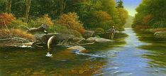 """""""Prelude to a Memory"""", Alkyd  Fly fishing for trout in the mountains is one of my passions. This painting is entitled """"Prelude to a Memory"""" because the line is caught on underwater twigs and the trout will soon break the line and escape. As far as my paintings go, I never much liked this one. I have two other fly fishing paintings still available as limited edition reproductions. #flyfishing #orvis #cabelas #robertbdance #northcarolina #fieldandstream"""