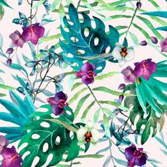 Muriva Tropical Floral Wallpaper White / Multi-Coloured - Patterned Wallpaper from I love wallpaper UK Wallpaper Uk, Pattern Wallpaper, Tropical Wallpaper, Tropical Design, Living At Home, Tropical Flowers, Design Art, Watercolor Paintings, Art Prints