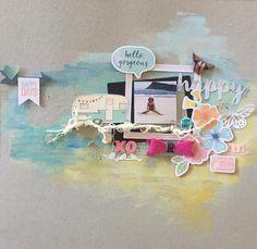 Watercolour background on board. with some Cocoa Vanilla emblishments, xo