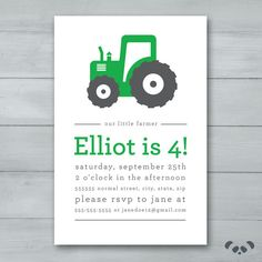 Tractor Birthday Party invitation Farming by PandafunkCreations