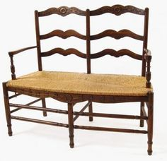 Brown Provence Bench  with Hand Woven Rush Seat